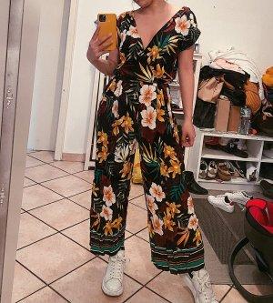 Zara Overall Jumpsuit Einteiler Blumen Blümchen locker tropical