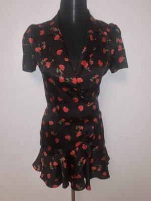 Zara Overall Jumpsuit Kleid Mini Rosen Blumen Kurzarm