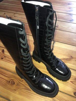 Zara overknee schnürung Combat Stiefel Boots chuby Leder kroko 36 neu Blogger Platform Platform