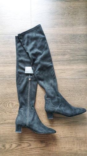 Zara Overknee Stiefel 37 schwarz Wildlederoptik elastisch Absatz