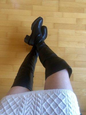 Zara Overknee Stiefel Boots Leder Look schwarz Trend Blogger 36