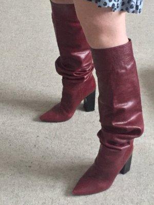 Zara Woman Kniehoge laarzen bordeaux-paars