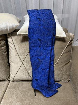 ZARA Overknees Blau FLORAL PRINT FABRIC HIGH HEEL BOOTS Gr37 5112/201