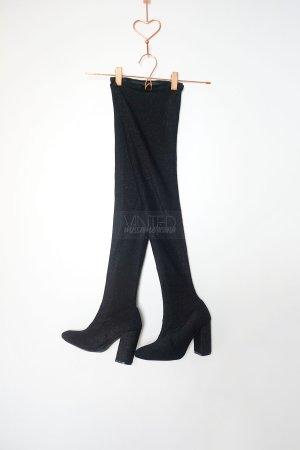 Zara Overknees schwarz silber Glitzer