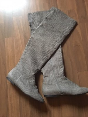 Zara Overknees Stiefel Leder grau Gr. 40