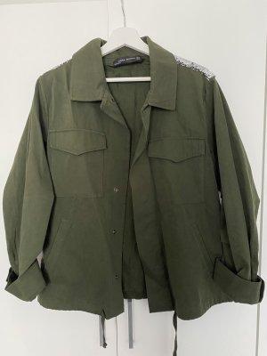 Zara Oversized Jacket khaki-dark green