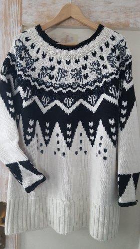Zara Oversize Jacquard- Pullover mit Pailletten wollweiß schwarz Gr.M neu