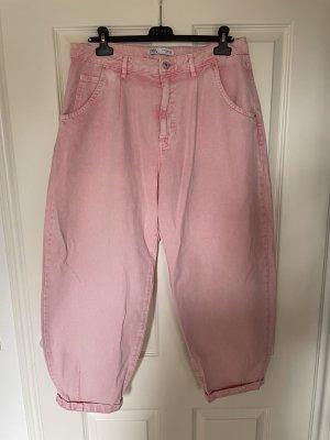 """Zara """"Oversize Jeans Slouchy"""" in hellem Neon pink"""