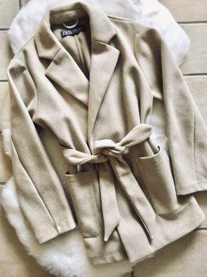 Zara Oversize Kurz-Mantel beige Gr. XS