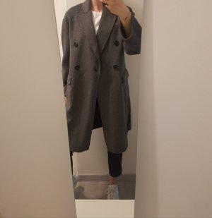 Zara Wełniany płaszcz szary