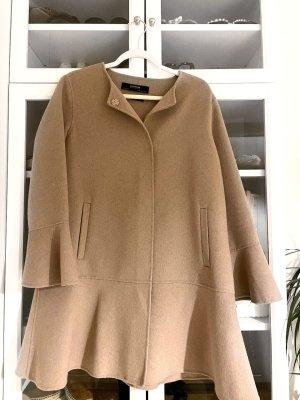 Zara Oversize Mantel mit Volant Gr M beige Wollmantel