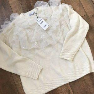 Zara  oversize Pulli mit Rüschen Volants Alpaca gebrochen-weiß Gr. S. neu mit Etikett
