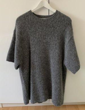 Zara Sweter oversize ciemnoszary-szary Wełna