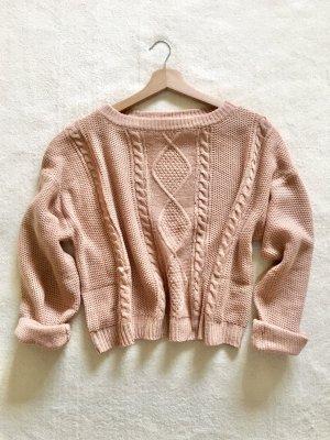 Zara Oversize Strick Knit Pulli nude apricot Gr. M