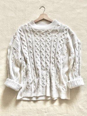 Zara Oversize Strick Knit Pulli weiß wollweiß Gr. M