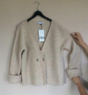 Zara Oversize Strickjacke Gr.S Wolle diverse Creme Farben