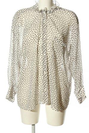 Zara Oversized Bluse weiß-braun Allover-Druck Casual-Look