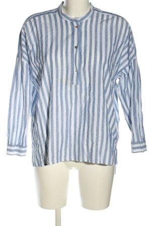 Zara Oversized Bluse blau-weiß Streifenmuster Casual-Look