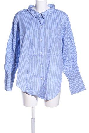 Zara Oversized Bluse blau-weiß Streifenmuster Business-Look