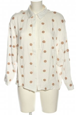 Zara Oversized Bluse creme-braun Allover-Druck Business-Look