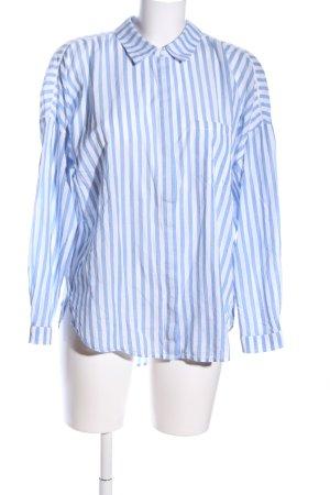 Zara Oversized Bluse weiß-blau Streifenmuster Casual-Look