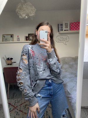 Zara Oversized Destroyed Ripped Pullover S/M