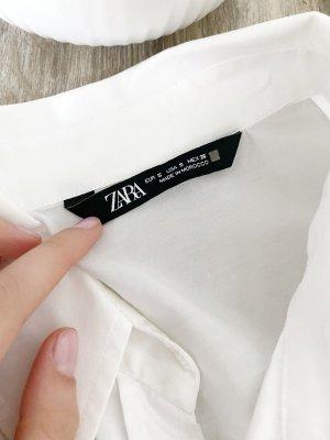 Zara Camisa de franela blanco