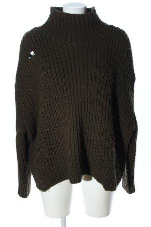 Zara Jersey holgados caqui punto trenzado look casual