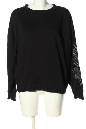 Zara Oversized Pullover schwarz-silberfarben Blumenmuster Casual-Look