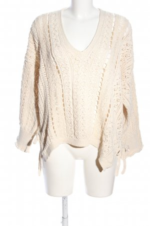 Zara Oversized Pullover creme grafisches Muster Casual-Look