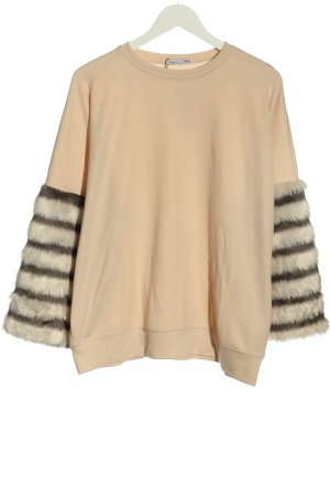 Zara Oversized Pullover nude-schwarz Streifenmuster Casual-Look