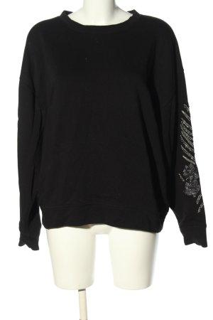 Zara Oversized Pullover schwarz Blumenmuster Casual-Look