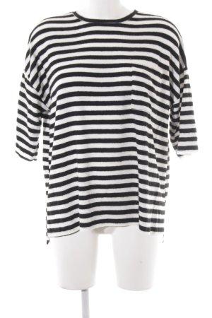 Zara Oversized Pullover schwarz-weiß Streifenmuster Casual-Look