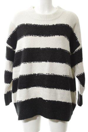 Zara Oversized Pullover wollweiß-schwarz Streifenmuster Casual-Look