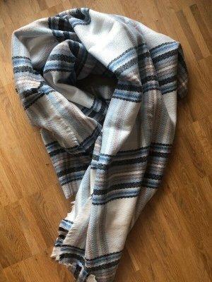 Zara Écharpe en laine bleu azur-blanc