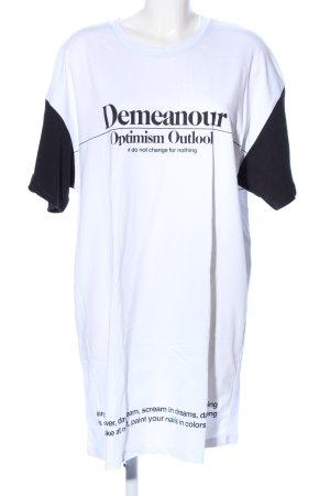 Zara Camisa holgada blanco-negro letras impresas look casual