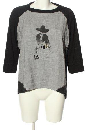 Zara Oversized Shirt schwarz-hellgrau Motivdruck Casual-Look