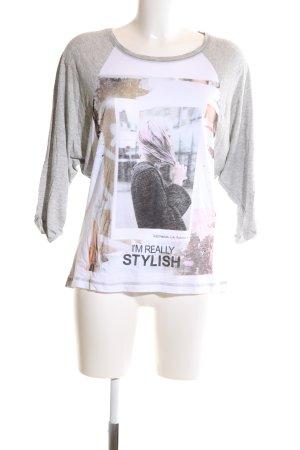 Zara Oversized Shirt hellgrau-weiß meliert Casual-Look