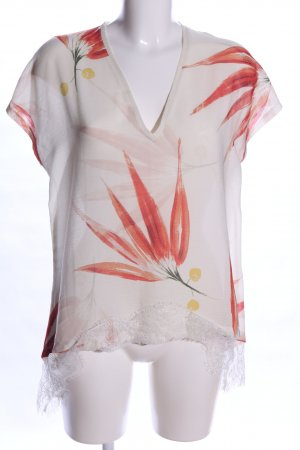 Zara Oversized Shirt wollweiß-rot Blumenmuster Casual-Look