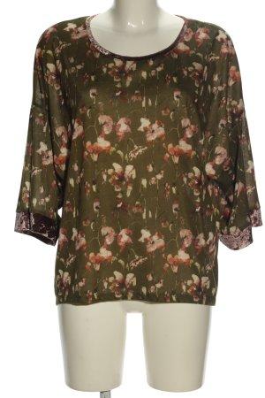 Zara Oversized Shirt khaki-pink Allover-Druck Casual-Look