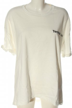 Zara Oversized Shirt natural white printed lettering casual look