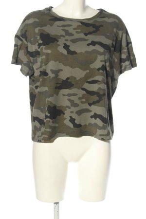 Zara Oversized Shirt khaki-hellgrau Allover-Druck Casual-Look