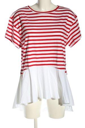 Zara Oversized Shirt weiß-rot Streifenmuster Casual-Look