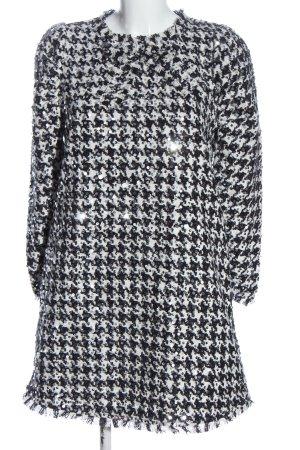 Zara Pailettenkleid schwarz-weiß Allover-Druck Business-Look