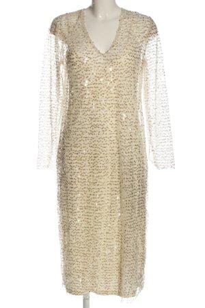 Zara Vestido de lentejuelas crema elegante