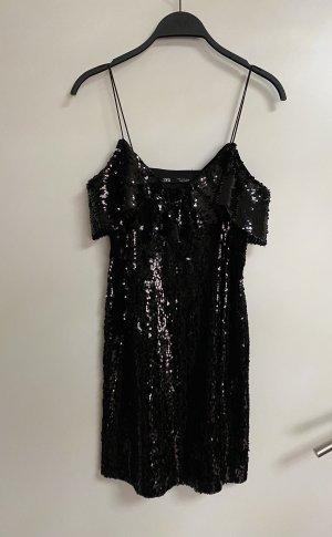 Zara Pailletten Kleid mini kurz mit Volant Partykleid Schulterfrei