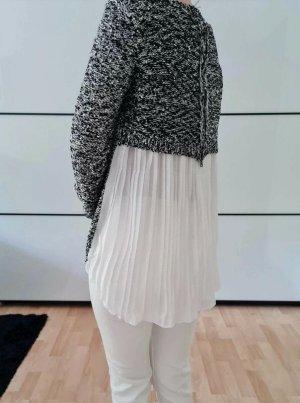 Zara Pailletten Plissee Pullover 34 36 XS S M grau knit Volant Pulli Shirt Bluse Oberteil Top Neu
