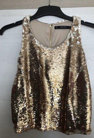 Zara Top tipo bustier color oro
