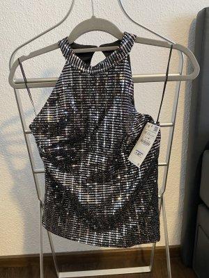 Zara Blusa sin espalda color plata