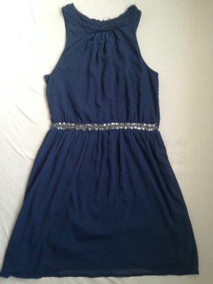 Zara Paillettenborte Kleid blau Gr L